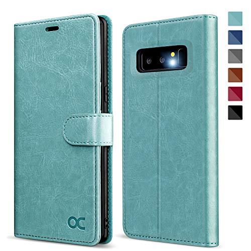 OCASE Samsung Galaxy Note 8 Hülle, Handyhülle Samsung Galaxy Note 8 [Premium Leder] [Standfunktion] [Kartenfach] [Magnetverschluss] Leder Brieftasche für Galaxy Note 8 Minzgrün