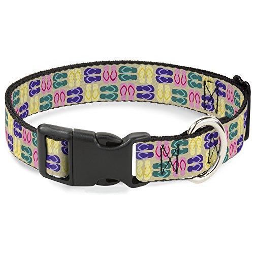 Buckle-Down Flip Flops4 Kunststoff-Clip-Halsband, 2,5 cm breit, für Halsumfang von 22,9–38,1 cm, Sandfarben/Mehrfarbig