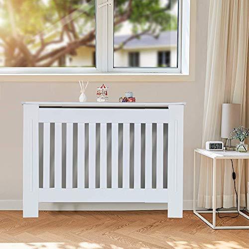 KingSaid Cache-radiateur - Étagère en Bois - Moderne à Lattes en Panneaux MDF - Meuble de Rangement pour Salon - 111 * 82 * 19cm