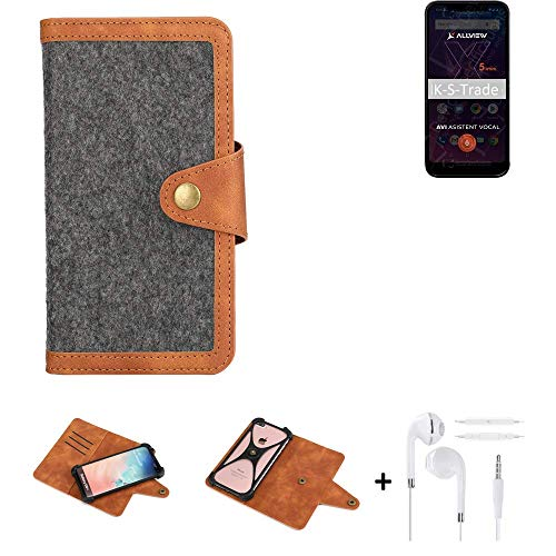 K-S-Trade® Handy-Hülle + Kopfhörer Für Allview Soul X5 Mini Schutz-Hülle Filz-Hülle Kunst-Leder Dunkelgrau Braun (1x)