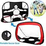 Yuanj 2 en 1 Pop Up Goal de Football des Enfants, Cible de tir Football Portable et Pliable avec Sac de...