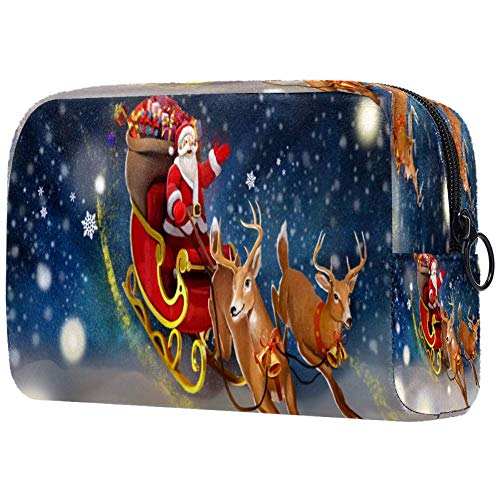 Christmas Old Santa Reindeer Sled Cosmetic Bag Makeup Pouch Case Organizer for Travel Portable Toiletry Purse for Girls, Women