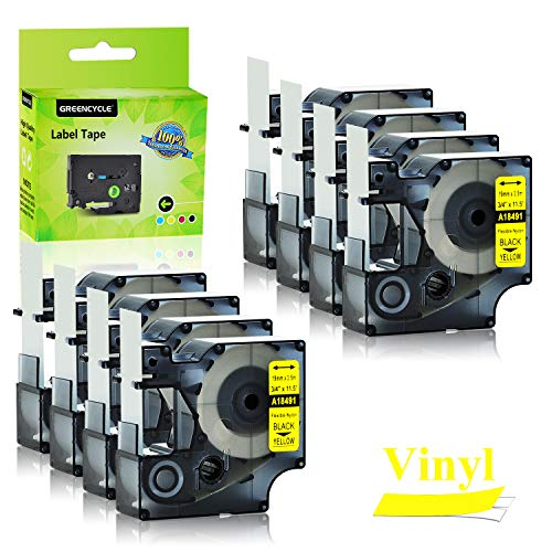GREENCYCLE 8PK Industrial Flexible Nylon Label Tapes Compatible for Dymo 18491 Black on Yellow IND 19mm 3/4'' 11.5ft 3.5m Work with DYMO Rhino 4200 5000 5200 6000 3M PL200 PL300 ILP 219 Label Maker