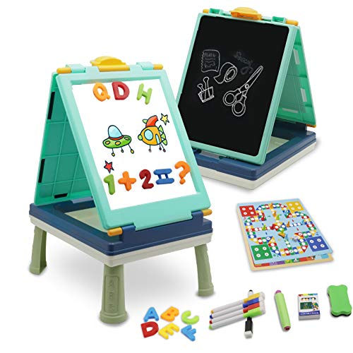 QDH Art Easel for Kids, Double Sided Whiteboard & Chalkboard Tabletop Easel with Art Accessories, Portable Toddler Magnetic Dry Erase Drawing Board (Blue)