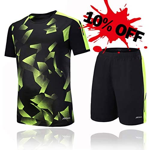 Akilex Football Shirt + Shorts Mens Jersey Football kit 100% Polyester  Breathable Quick Dry Short 414d3fe4e