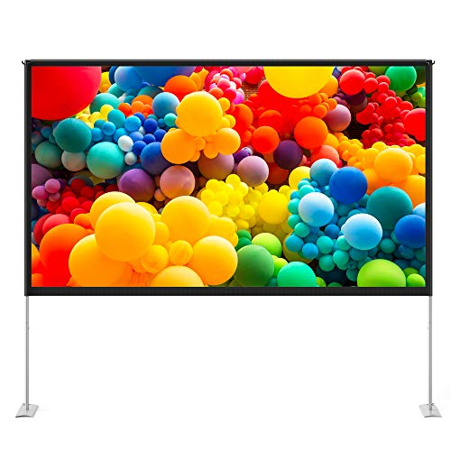 TaoTronics 100 inch Projector Screen with Stand,TT-HP027 16:9 HD Projection Screen Outdoor Indoor Portable Front Rear Polyester Fabric Projection Screen Projector Movies Screen for Home Theater