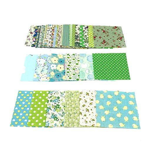 YUnnuopromi - 50 piezas de 10 x 10 cm de tela floral de algodón para manualidades, para costura, cuadriculados de patchwork