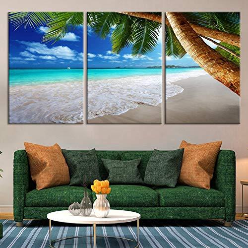 WLEZY Leinwandmalerei 90×50cm Tropical Island Beach Leinwanddruck 3 Stück Kokosnussbaum Leinwand Malerei Heimkino-Raum Wanddekoration Seestück Kunst (Rahmen)