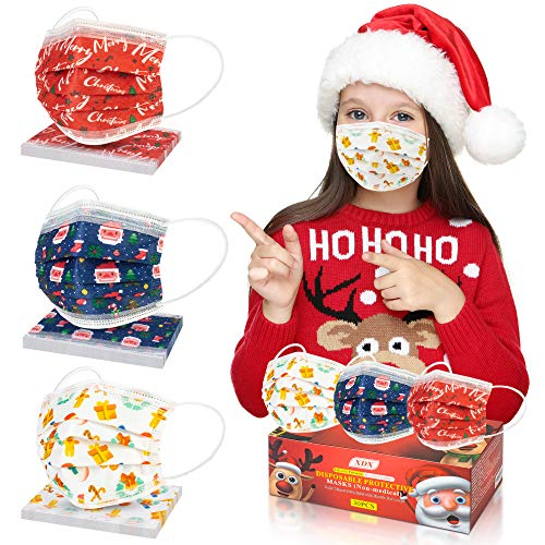 Kids Face Masks, Christmas Disposable Face Masks for Kids-3 Christmas Patterns for Children's Size- Adjustable Ear Loops & Nose Wire Face Mask for Boys Girls (30pcs)