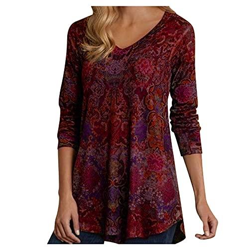 Camiseta de túnica para Mujer, Blusa Elegante con Cuello en V, Camisas holgadas, Blusa Informal de Manga Larga con Estampado Floral