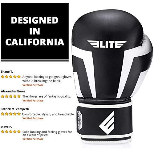 Elite Sports New Item Standard Adult Kickboxing, Muay Thai Sparring Training Boxing Gloves, White, 14 oz.