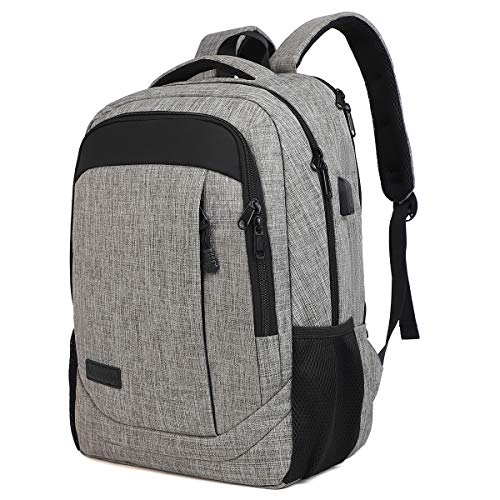 Monsdle Travel Laptop Backpack Anti Theft Water Resistant Backpacks School Computer Bookbag with USB Charging Port for Men Women College Students Fits 15.6 Inch Laptop (Grey)