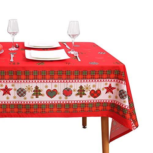 Tafelkleed Wegwerp rechthoekig bedrukt kerst spatwaterdicht tafelkleed (rechthoekig, polyester,55x78inch)
