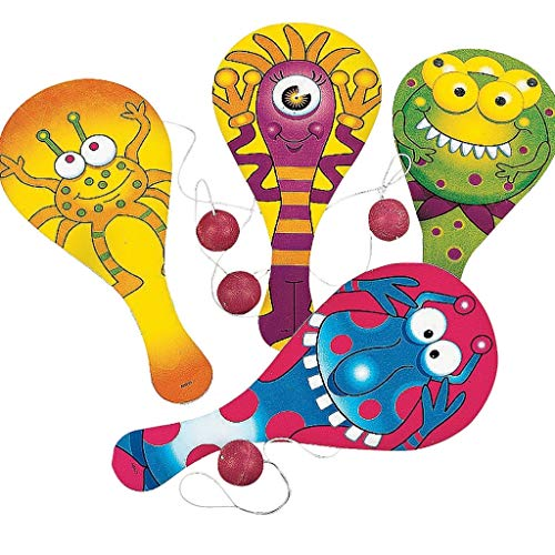 Elfen und Zwerge - Paddleball - Monster Spiel - Mitgebsel für Kindergeburtstag - Geschicklichkeitsspiel - 6 Stück