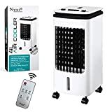 Nyxi Air Cooler Fan Portable, 4L Water Tank with 2 Ice Boxes, And Remote Control, High Cooling Efficiency, Anti Dust Filter, 3 Speed Setting with 180° Oscillation, Cooler Purifier on Wheels, White