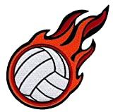 Flaming Volleyball Patch...image