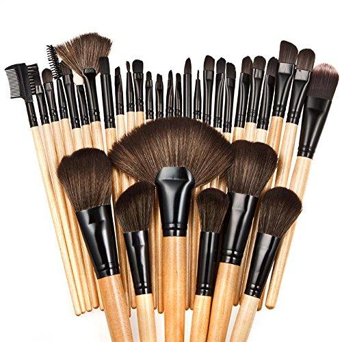 RY@ Maquillage Blush Set, Professional 32 pièces Manche en bois naturel Rose/marron Make Up Set de brosse avec étui, A