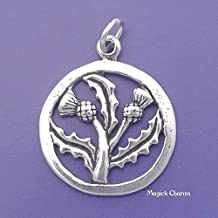 Scottish Thistle Charm Sterling Silver Jewelry Making Supply Pendant Bracelet DIY Crafting by Wholesale Charms