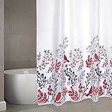 """MSV Cotexsa by Premium Anti-Schimmel Textil Duschvorhang - Anti-Bakteriell, waschbar, 100prozent wasserdicht, mit 12 Duschvorhangringen - Polyester, """"Vögel"""" Weiß 180x200cm – Made in Spa"""