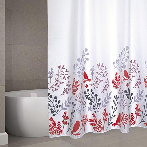 """MSV Cotexsa by Premium Anti-Schimmel Textil Duschvorhang - Anti-Bakteriell, waschbar, 100% wasserdicht, mit 12 Duschvorhangringen - Polyester, """"Vögel"""" Weiß 180x200cm – Made in Spa"""