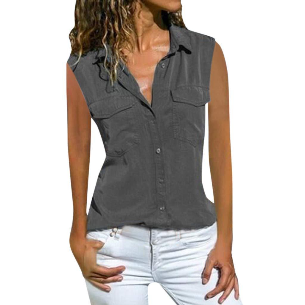 LILICAT✈✈ Moda para Mujer Tallas Grandes Sin Mangas Camisa con Cuello En V Bolsillos De Color SóLido Camiseta Blusa Tops: Amazon.es: Deportes y aire libre