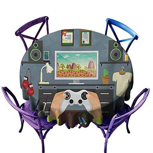 Custom Tablecloth,Gamer Gaming Guy in His Flat with Diplomas Loud Speakers Boxing Gloves Jump Rope and Trophy,High-end Durable Creative Home,63 INCH,Multicolor