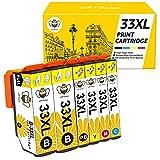 33XL Cartuchos de Tinta CMYBabee de Reemplazo Alto Rendimiento Compatible con Impresoras pson Expression Premium XP-530 XP-540 XP-630 XP-635 XP-640 XP-645 XP-830 XP-900 XP-7100