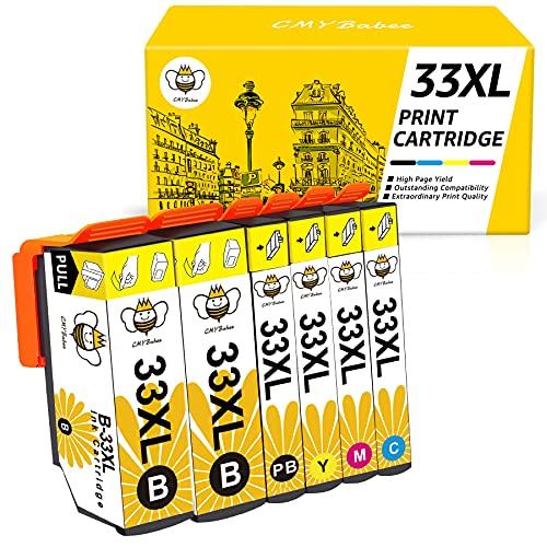 33XL 33 XL Cartucce Inchiostro CMYBabee Ricambi Alto Rendimento Compatibile con Stampanti Epson XP-640 XP-530 XP-830 XP-645 XP-540 XP-900 XP-7100 6-pacco
