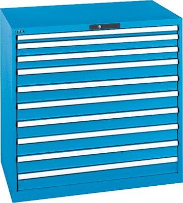 LISTA Schubladenschrank, Traglast/Schubl. 200 kg, 10 Schubl.: 50,2x75,7x100 mm, Zylinderschloss, BxTxH 1023x725x1000 mm, RAL 5012 lichtblau