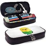 Hermosa bolsa de lápiz de cuero de papelería con estampado de loro tigre con cremallera Estuche de maquillaje de viaje pequeño