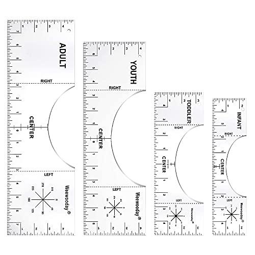 3 Herramientas Alineación Centrar de Camiseta Plantilla PVC Regla Guía Colocación Medición Vinilo de Tamaño Personalizado, 10 x 5, 16 x 5, 16 x 3 Pulgadas (Transparente)
