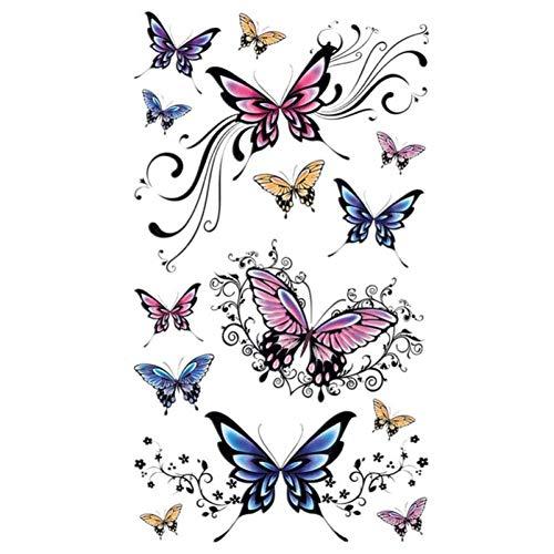 EROSPA® Tattoo-Bogen temporär - Aufkleber Schmetterlinge / Butterfly 10 x 20 cm