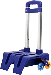 Free2mys Pull-push Foldable Aluminium Rolling Trolley Cart for Backpack with Wheels (Blue)