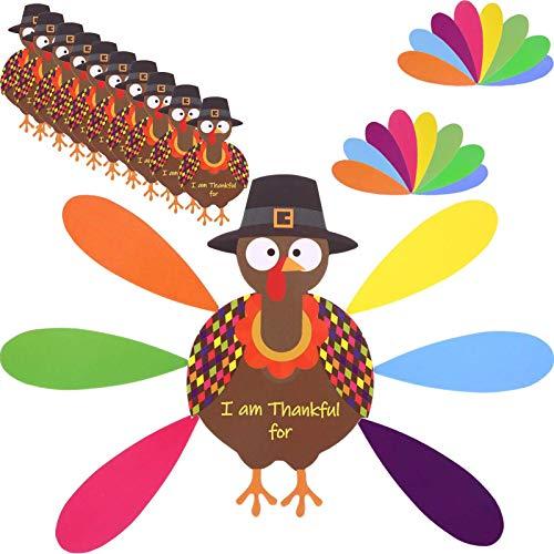 XIANLIAN Papel de manualidades de Turquía, juguetes de plumas coloridas para Acción de Gracias, kit de fabricación de pavo, juego de regalo para actividades familiares de vacaciones para niños
