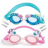 MOOKLIN ROAM Gafas de Natación Infantil, 2pcs Antiniebla Gafas para Nadar Antigoteo Protección UV sin Fugas incluir Enchufe de oído y Clip de Nariz Ajustable para Niñas, Niños, Juventud Edad 3 – 13