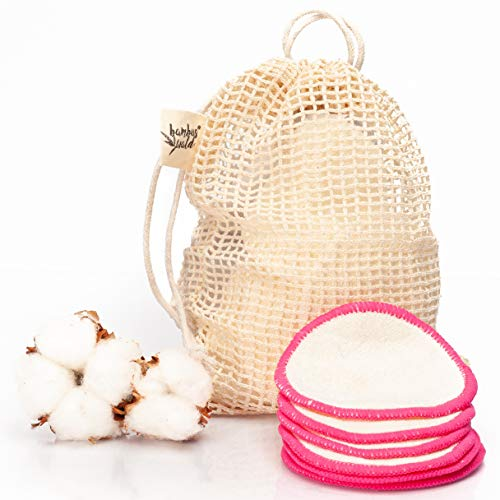 bambuswald© 12Stück ökologische Reinigungspads bzw. Abschminkpads aus Bambus | Kosmetikpads inkl. Tragetasche für Gesichtsreinigung, Make-Up Remover. Waschbare Reinigungstücher Abschminktücher