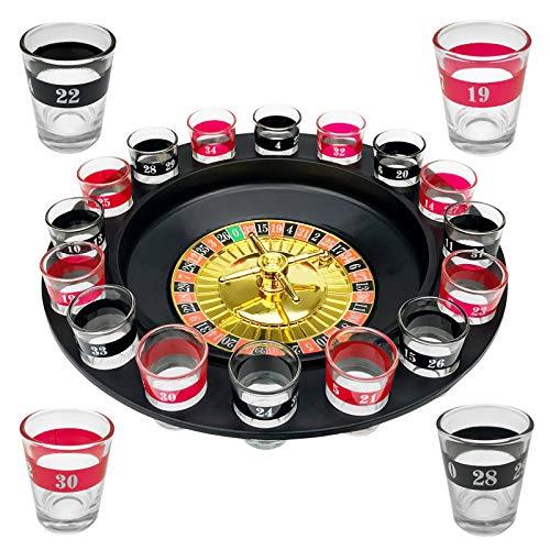 WELLGRO Trinkspiel Roulette - mit 1 Roulette-Rad, 16 Schnapsgläser und 2 Spielkugeln - Party-Spaß, bei dem der Zufall entscheidet
