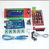 F-Mingnian-rsg 1 Uds Mega 2560 R3 + 1 Uds RAMPS 1,4 Controlador + 5 Uds A4988 módulo de Controlador Paso a Paso/RAMPS 1,4 2004 Control LCD para Kit de Impresora 3D