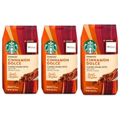 Starbucks Cinnamon Dolce Flavored Blonde Roast Ground Coffee Pack of 3 Bags - 11 oz Per Bag - 33 oz total