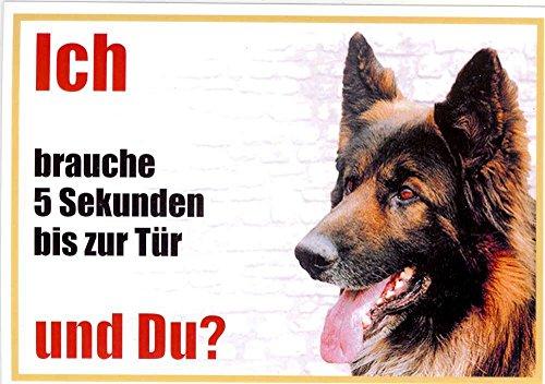 WARNSCHILD Belgischer Schäferhund 004 ca. 21 x 15 cm laminiert wasserabweisend Motiv : Ich brauche 5 Sekunden bis zur Tür und Du ?