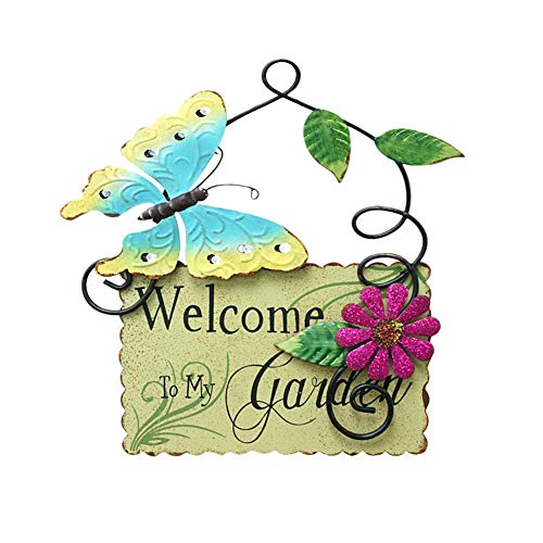 Metal Garden Welcome Sign with Butterfly Decor, Outdoor Hanging Welcome Sign for Garden Decoration Yard Decor