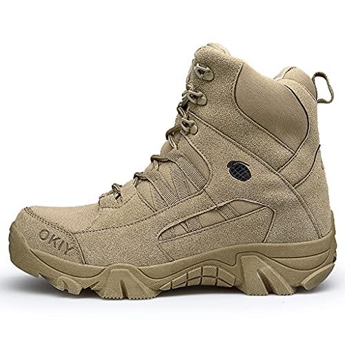 YUHAI Botas Militares Militares de los Hombres, Botas de Senderismo Antideslizantes y Resistentes al Desgaste, para montañismo de Caminata para Acampar, Sand-42(UK 8.5)