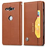 Zhangl Sony Cases - Funda de piel con tapa horizontal para Sony Xperia XZ2 Compact, con marco de fotos y soporte y ranuras para tarjetas y billetera, color marrón