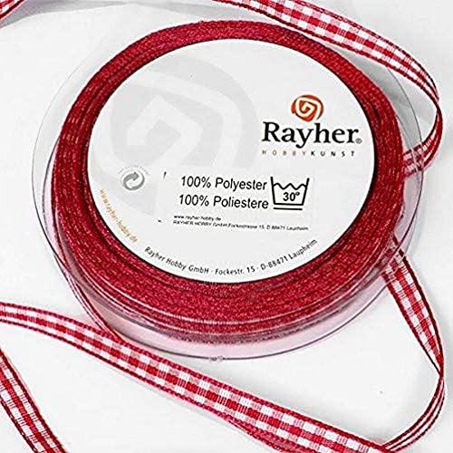 Rayher 5540718 - Nastro a quadretti, 6,3 mm, rotolo da 10 m, a quadretti di Vichy fattoria, a quadretti di vichy fattoria, senza filo