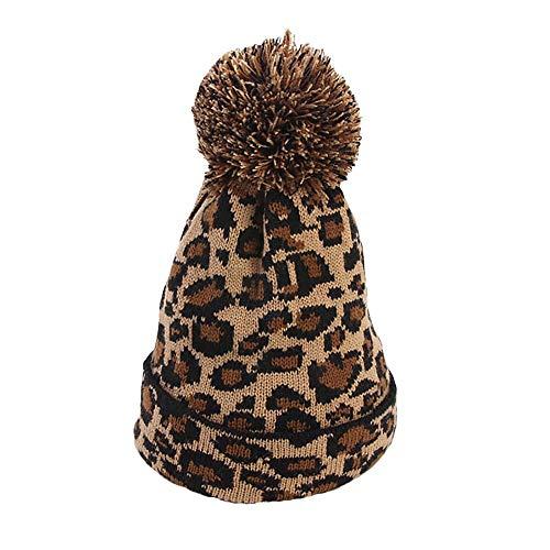LILICAT Gorro de Lana de Leopardo Bola de Lana Gorro de Punto, Moda Mujeres Leopardo de Piel de imitación de la Bola de Invierno cálido de Punto de Sombrero de Ganchillo Cap Beanie