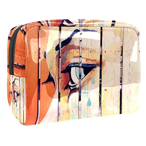 Tizorax Sac de maquillage en PVC pour femme Motif planches peintes