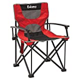 Eskimo 30619 Extra Large Portable Folding Quad Ice Fishing Gear Seat Chair w/Mesh Pocket and Carrying Case, Red