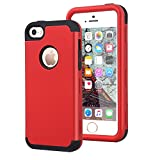 Dailylux iPhone 5C Case,5C Case,PC+Soft Silicone Three Layers Shockproof Armor Anti-Slip Protective Defensive Hard Back Cover for Apple iPhone 5C-Red+Black