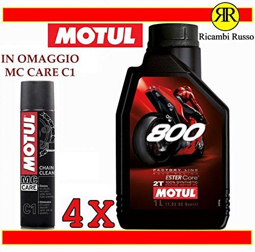 Motul 800 2T Factory Line Road Racing Aceite de motor de moto 2 tiempos 4 litros + Regalo MC Care C1 Chain Clean