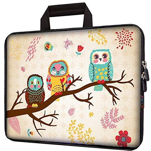 icolor 10' Laptop Sleeve Bag Case 10.1' 10.2' 9.7' Tablet Handbag Carrier 8' eBook Computer PC Netbook Readers Protection Carrying Cover Holder Carrying Pouch-Cute Owl